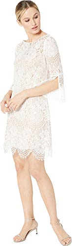 - Vince Camuto Women's Lace Shift w/ 3/4 Sleeve Ivory 8