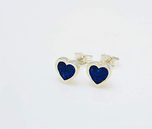 Heart-Shaped Lapis Lazuli Gemstone Earrings Handcrafted, Semi Precious Stone by Handmade Studio