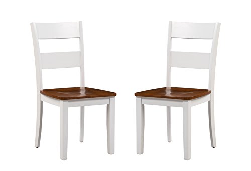 - Trithi Furniture Fullerton Asian Solid Wood White Kitchen & Dining Chair with Cherry Wood Seat, Set of 2