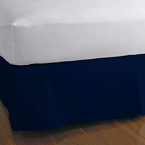 (PS Linen Split Corner Bed Skirt 18'' Inch Drop - 100% Egyptian Cotton Luxurious & Hypoallergenic Easy to Wash Wrinkle, (Navy Blue, Twin-XL Size Bed Skirt with 18 inch Drop))