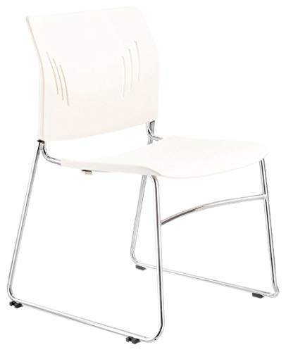 OfficeSource Stackable Reception Chair, Multi-Purpose Armless Chair, Chrome Frame & White Back and Seat, Superior Lumbar Support (3080WHT)