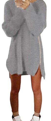 Cromoncent Femmes Robes De Chandail Du Côté De La Fermeture À Glissière De Gris Ras Du Cou Décontracté