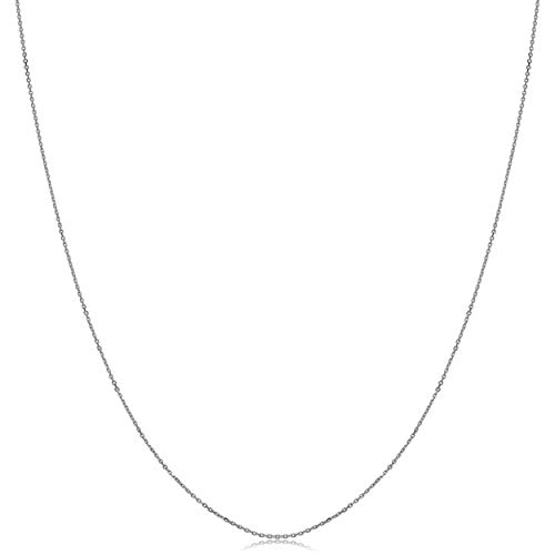 Kooljewelry 14k White Gold Diamond-cut Cable Chain Necklace (0.6 mm, 16 inch)