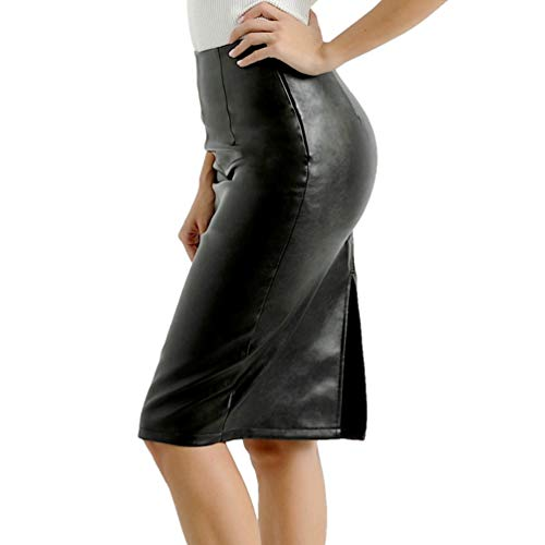 HRMSIUKB Women's Black Faux Leather Pencil Skirt with Slit High Waist Knee Length Slim Skirt (X-Large)