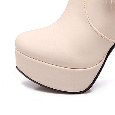 Heart&M Mujer Zapatos Semicuero Primavera Invierno Botas de Moda Botas Tacón Robusto Dedo redondo Botines Hasta el Tobillo Cremallera Para Casual beige