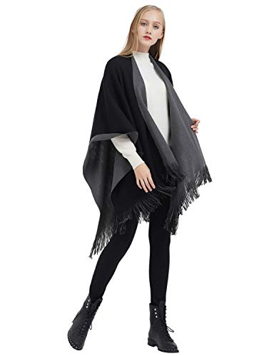 eba67dcb4d7e3 ilishop Women s Winter Knitted Cashmere Poncho Capes Shawl Cardigans  Sweater Coat Black-Grey Free