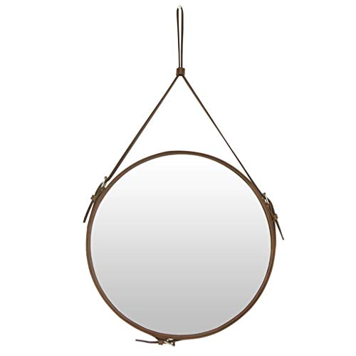 Faux Leather Round Wall Hanging Mirror with Adjustable Leather Hanging Strap Bathroom Makeup Circle Mirror Hotel Home Decorative Mirror,Brown,Diameter 15.7