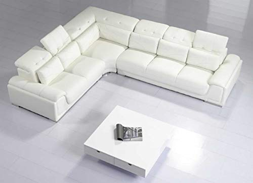 Contemporary White Leather Sectional Sofa w Adjustable Headrest and Pillows T93C reviews