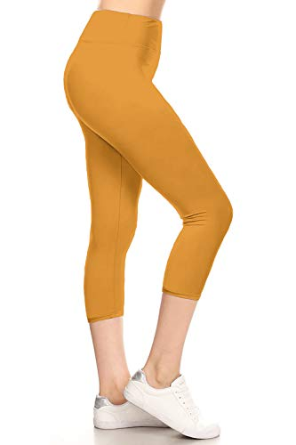 - LYCPR128-MUSTARD Yoga Capri Solid Leggings, One Size