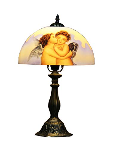 Lamp Tiffany Table Angels (Tiffany Style Table Lamp, 12 Inch Euro Retro Little Angel Art Deco Desk Lamp With Zinc Alloy Base, Bedroom Bedside Lamp, Reading Light)