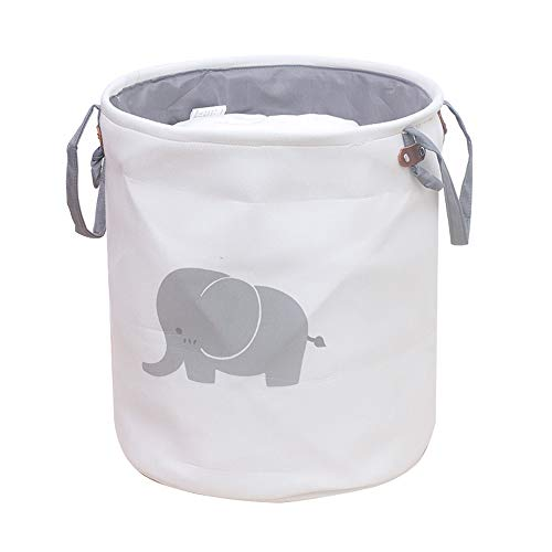 Canasta de almacenamiento plegable a prueba de agua cilíndrica, Canasta de almacenamiento de tela con asas, Canasta de...
