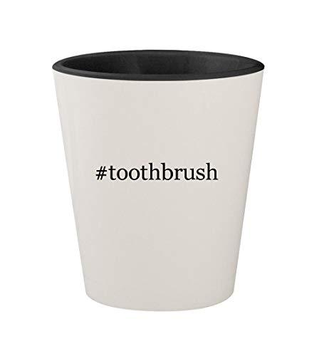 #toothbrush - Ceramic Hashtag White Outer & Black Inner 1.5oz Shot Glass