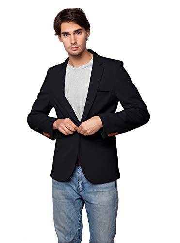 ZITY Mens Premium Casual One Button Blazer Slim Fit Coat Jacket Black US S=Lable2XL ()