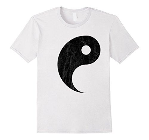 Mens Yin Yang Couples Halloween T-shirt Costume for Best Friends Medium White