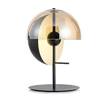XZHU Lámparas de mesa de hierro modernas, vidrio redondo nórdico ...