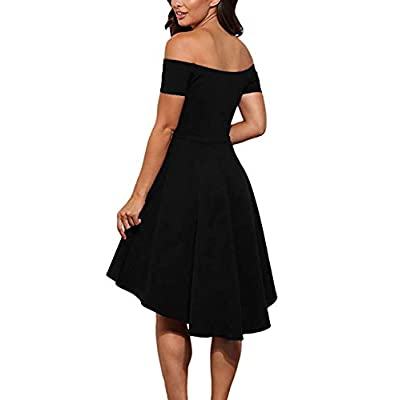 CUQY Womens Off The Shoulder High Low Hem Cocktail Skater Wedding Party Teen Formal Dresses (FBA): Clothing