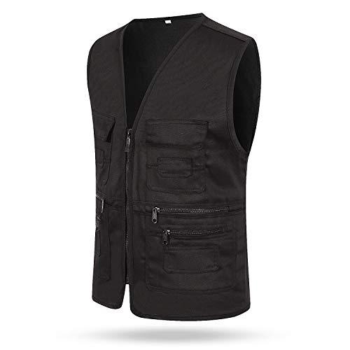 (LCY Men Multi Pocket Vest Gilet Outdoor Fishing Hunting Travel Waistcoat Size L-2XL Black XXL)