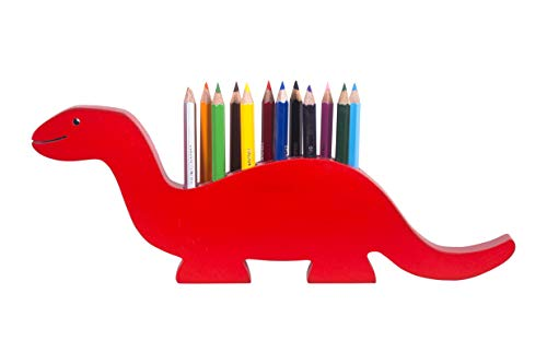 The Kiddy Depot - 12 Color Pencils With Red Dino Color Pencil Holder Wooden For Boys & Girls