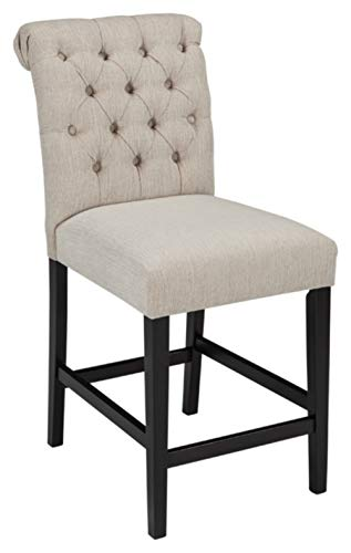 Ashley Furniture Signature Design - Tripton Upholstered Barstool - Set of 2 - Casual Style - Tan