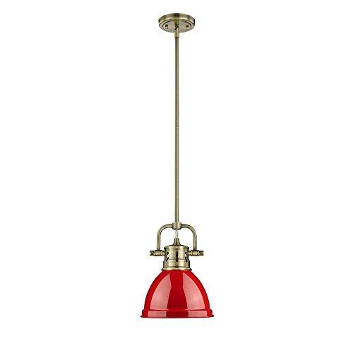 Golden Lighting 3604-M1L AB One Light Mini Pendant Gold