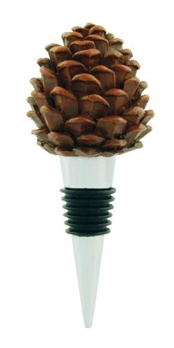 (Pinecone Wine Stopper Bottle Topper, Lodge Decor, 5-inch)