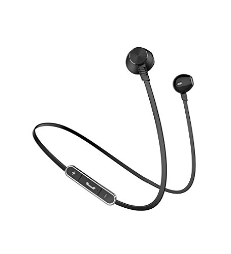 Bluetooth Earphones with Mic, Langsdom L5 Wriless Earbuds Powerful Bass Headphone with 7 Hours Playtime (IPX4 Splashproof, Black)