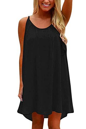 - Yidarton Womens Summer Casual Sleeveless Evening Party Beach Dress (Medium, B-Black)