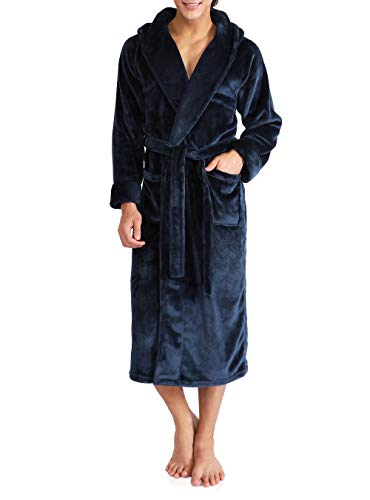 Blue Hooded Robe (David Archy Men's Hooded Fleece Robe Ultra Soft Full Length Long Bathrobe (S, Navy Blue))