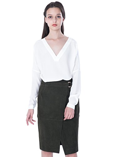 PHILIPPE LE BAC Women's Leather Midi Pencil Skirt For Office Wear by PHILIPPE LE BAC