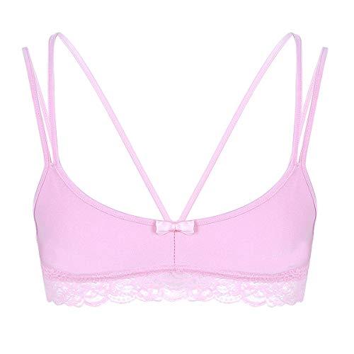 (ACSUSS Men's Sissy Lace Bra Bralette Wire-Free Bra Tops Crossdress Gay Underwear Type B Pink)