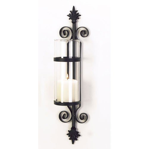 New French Fleur De Lis Hurricane Glass Pillar Candle Holder Wrought Iron  Wall Sconce