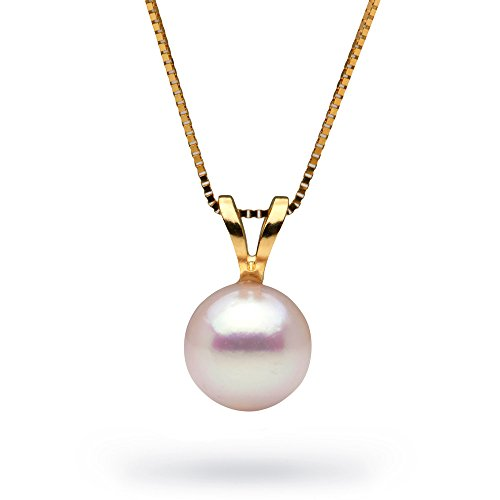 14K White Akoya Cultured Pearl Classic Solitaire Pendant, 7.0-7.5mm, Yellow Gold, 18-Inch Chain