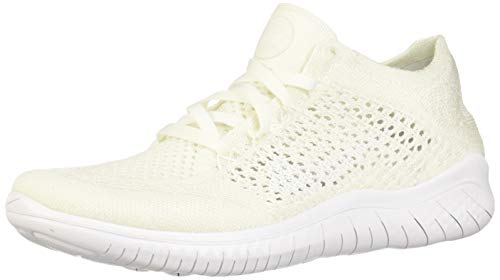 (Nike Women's Free Rn Flyknit 2018 White/White Running Shoe 6.5 Women US)