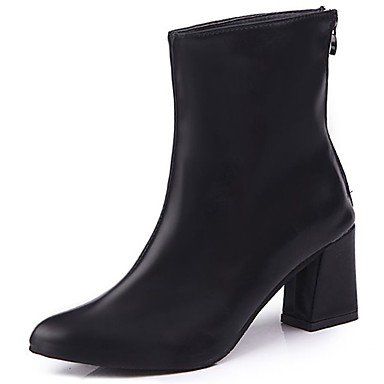 Boots US6 CN36 Pointed Fashion Pu Women'S Winter EU36 Comfort For Red Casual UK4 Chunky Black Heel Shoes Toe RTRY Boots xaYqwHq
