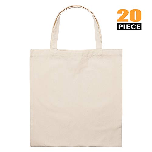 (BigFasbag Canvas Tote Bag Cotton Grocery Pack Reusable Natural Durable Package for Shopping Gift Carry Fabric, 8oz Thickness, 12 Pieces, 15''Wx16.5''H, White)