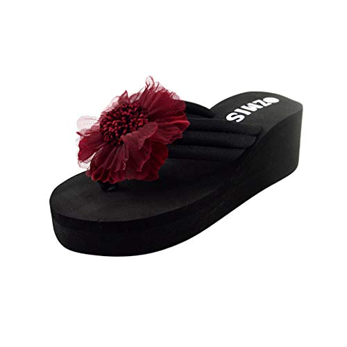 595a1ae700d05 Women Wedges Flower Shoes❀Ladies Flip Flops Platform Sandals Thick Bottom  Slippers Wine