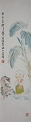 [Chinese Ink and Wash Painting]-A little Monk Pray for Nice - 100% creative by Master Song - 35.43 x 9.45 inches