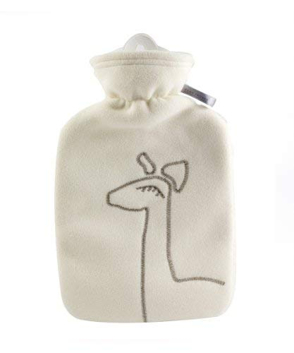 Hot Water Bottle with Cover - Hot Cold Pack Made of Burst Resistant Thermoplastic with Fleece Sleeve, Helps Relieve Muscle Aches & Pains, Menstrual Cramps, Flu Symptoms (1.8 L White Deer Application) by Hugo Frosch