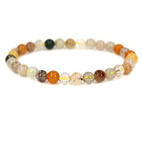Natural Multicolor Rutilated Quartz Gemstone 6mm Round Beads Stretch Bracelet 7