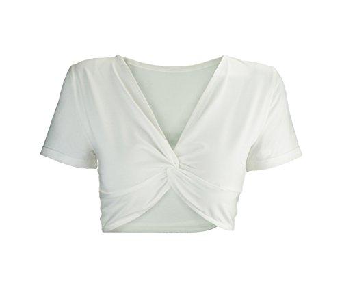 Shirt Manica Strette V Estivi Corta Unita Bluse Maglietta Moda Top Irregolare Tinta Crop Donne Shirts Bianca Profondo Collo Camicie T 055wXTqx