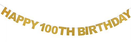 INNORU Happy 100th Birthday Banner Gold Glitter Letters Hang Bunting - 100th Birthday Party Decorations -
