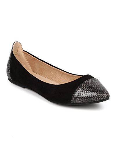 Women Pointy Capped Toe Flat - Ballerina Flat - Casual Dressy Everyday Office Flat - HA76 By Wild Diva Collection - Black Mix Media (Size: (Girls Black Hazel Shoes)