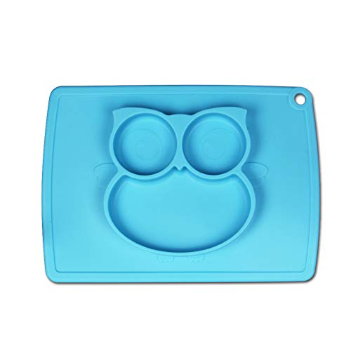 Jovilife Baby Silicone Plate,Silicone Placemat Baby Highchair Feeding Tray, Silicone Suction Owl Placemat Food Feeding Divided Mat for Kids, Toddlers (Blue)
