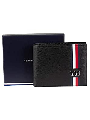 Tommy Hilfiger Men's Signature Monogram Small Card Wallet Signature Monogram Small Card Wallet, Black, One Size