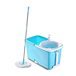 Ganesh Quick Spin Mop with Easy Wheels and Plastic Bucket, Blue