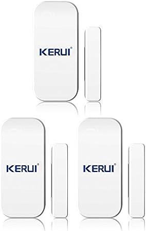 KERUI: Ventana/Puerta Alarma de Sensores Inalámbrico, Seguridad x 3 Alarma Inalámbrico Detector, Magnética apertura Magnética de Puerta o Ventana, Sistema de Seguridad Inductivo