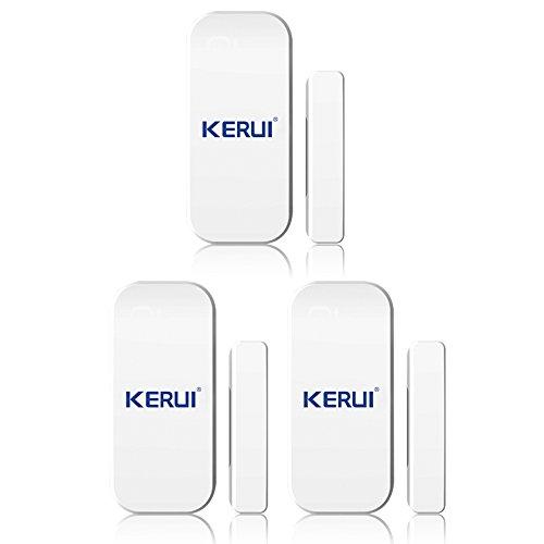 KERUI –  magné tica ventana puerta las alarmas de sensores Cambrioleur Intruder seguridad X 3 –  Alarma inalá mbrica Detector magné tico apertura puerta ventana inductif sistema seguridad