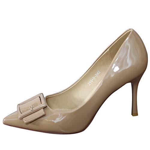 36 Banquete Alto Boca de Sexy de tacón Las Solos UE Moda Europeo Charol señoras Baja YMFIE de EU señaló de Zapatos Zapatos 38 Zapatos de Fiesta 5Hw0OWxS