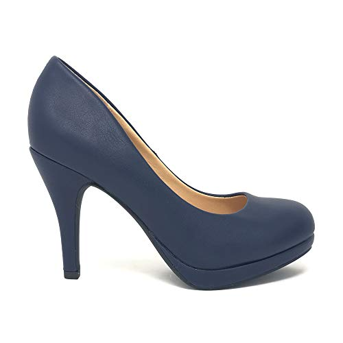 Women's Classic Dress Pump W Extra Cushioned in Sole Round Toe & Platform Lip IMSU (8 M US, Navy Pu)