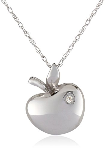 Diamond Apple Pendant - 10k White Gold Apple Diamond Pendant Necklace (0.006 cttw, I-J Color, I2-3 Clarity), 18
